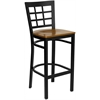 HERCULES Series Black Window Back Metal Restaurant Barstool - Cherry Wood Seat
