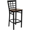 HERCULES Series Black Window Back Metal Restaurant Barstool - Mahogany Wood Seat
