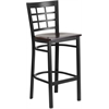 HERCULES Series Black Window Back Metal Restaurant Barstool - Walnut Wood Seat