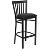 HERCULES Series Black School House Back Metal Restaurant Barstool - Black Vinyl Seat