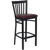 Flash Furniture HERCULES Series Black School House Back Metal Restaurant Barstool - Burgundy Vinyl Seat