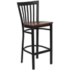 HERCULES Series Black School House Back Metal Restaurant Barstool - Cherry Wood Seat