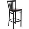 Flash Furniture HERCULES Series Black School House Back Metal Restaurant Barstool - Mahogany Wood Seat