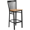 Flash Furniture HERCULES Series Black School House Back Metal Restaurant Barstool - Natural Wood Seat