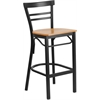 Flash Furniture HERCULES Series Black Ladder Back Metal Restaurant Barstool - Natural Wood Seat
