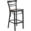Flash Furniture HERCULES Series Black Ladder Back Metal Restaurant Barstool - Walnut Wood Seat