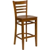 Flash Furniture HERCULES Series Cherry Finished Ladder Back Wooden Restaurant Barstool