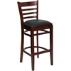 HERCULES Series Mahogany Finished Ladder Back Wooden Restaurant Barstool - Black Vinyl Seat