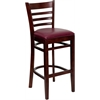 HERCULES Series Mahogany Finished Ladder Back Wooden Restaurant Barstool - Burgundy Vinyl Seat