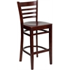 Flash Furniture HERCULES Series Mahogany Finished Ladder Back Wooden Restaurant Barstool