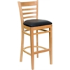 Flash Furniture HERCULES Series Natural Wood Finished Ladder Back Wooden Restaurant Barstool - Black Vinyl Seat