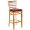 HERCULES Series Natural Wood Finished Ladder Back Wooden Restaurant Barstool - Burgundy Vinyl Seat