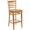 Flash Furniture HERCULES Series Natural Wood Finished Ladder Back Wooden Restaurant Barstool