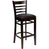 HERCULES Series Walnut Finished Ladder Back Wooden Restaurant Barstool - Black Vinyl Seat