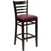 HERCULES Series Walnut Finished Ladder Back Wooden Restaurant Barstool - Burgundy Vinyl Seat