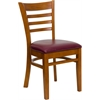 HERCULES Series Cherry Finished Ladder Back Wooden Restaurant Chair - Burgundy Vinyl Seat