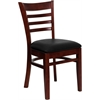 HERCULES Series Mahogany Finished Ladder Back Wooden Restaurant Chair - Black Vinyl Seat