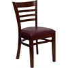 Flash Furniture HERCULES Series Mahogany Finished Ladder Back Wooden Restaurant Chair - Burgundy Vinyl Seat