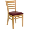 HERCULES Series Natural Wood Finished Ladder Back Wooden Restaurant Chair - Burgundy Vinyl Seat