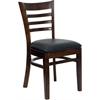 HERCULES Series Walnut Finished Ladder Back Wooden Restaurant Chair - Black Vinyl Seat