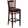 HERCULES Series Mahogany Finished Vertical Slat Back Wooden Restaurant Barstool - Burgundy Vinyl Seat