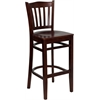 Flash Furniture HERCULES Series Mahogany Finished Vertical Slat Back Wooden Restaurant Barstool