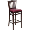HERCULES Series Walnut Finished Vertical Slat Back Wooden Restaurant Barstool - Burgundy Vinyl Seat