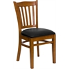 Flash Furniture HERCULES Series Cherry Finished Vertical Slat Back Wooden Restaurant Chair - Black Vinyl Seat