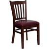 Flash Furniture HERCULES Series Mahogany Finished Vertical Slat Back Wooden Restaurant Chair - Burgundy Vinyl Seat