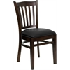 Flash Furniture HERCULES Series Walnut Finished Vertical Slat Back Wooden Restaurant Chair - Black Vinyl Seat