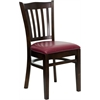 HERCULES Series Walnut Finished Vertical Slat Back Wooden Restaurant Chair - Burgundy Vinyl Seat