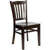 Flash Furniture HERCULES Series Walnut Finished Vertical Slat Back Wooden Restaurant Chair