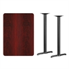 30'' x 42'' Rectangular Mahogany Laminate Table Top with 5'' x 22'' Bar Height Table Bases