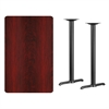 30'' x 48'' Rectangular Mahogany Laminate Table Top with 5'' x 22'' Bar Height Table Bases