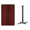 30'' x 48'' Rectangular Mahogany Laminate Table Top with 22'' x 30'' Bar Height Table Base