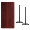 Flash Furniture 30'' x 60'' Rectangular Mahogany Laminate Table Top with 18'' Round Bar Height Table Bases