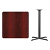 Flash Furniture 36'' Square Mahogany Laminate Table Top with 30'' x 30'' Bar Height Table Base