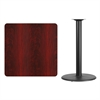 36'' Square Mahogany Laminate Table Top with 24'' Round Bar Height Table Base