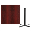 42'' Square Mahogany Laminate Table Top with 33'' x 33'' Bar Height Table Base