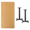Flash Furniture 30'' x 60'' Rectangular Natural Laminate Table Top with 22'' x 22'' Table Height Bases