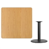 Flash Furniture 42'' Square Natural Laminate Table Top with 24'' Round Table Height Base