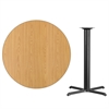 42'' Round Natural Laminate Table Top with 33'' x 33'' Bar Height Table Base