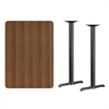Flash Furniture 30'' x 42'' Rectangular Walnut Laminate Table Top with 5'' x 22'' Bar Height Table Bases