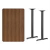 Flash Furniture 30'' x 45'' Rectangular Walnut Laminate Table Top with 5'' x 22'' Bar Height Table Bases