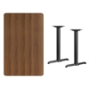 Flash Furniture 30'' x 48'' Rectangular Walnut Laminate Table Top with 5'' x 22'' Table Height Bases