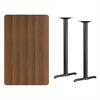 Flash Furniture 30'' x 48'' Rectangular Walnut Laminate Table Top with 5'' x 22'' Bar Height Table Bases