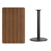 Flash Furniture 30'' x 48'' Rectangular Walnut Laminate Table Top with 24'' Round Bar Height Table Base