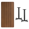 Flash Furniture 30'' x 60'' Rectangular Walnut Laminate Table Top with 22'' x 22'' Table Height Bases