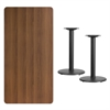 Flash Furniture 30'' x 60'' Rectangular Walnut Laminate Table Top with 18'' Round Table Height Bases