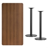 30'' x 60'' Rectangular Walnut Laminate Table Top with 18'' Round Bar Height Table Bases